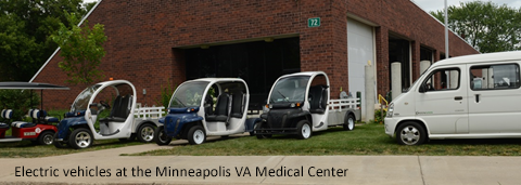 Electric vehicles at the Minneapolis VA Medical Center